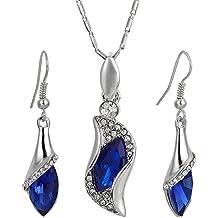 Regalos de Navidad Gota colgante, collar de los pendientes de cristal Swarovski Elements 18K Conjunto de joyas