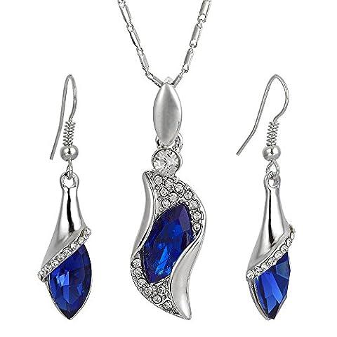 Modeschmuck 18K Weissgold Vergoldet Zirkonia Blau Sappir Marquise