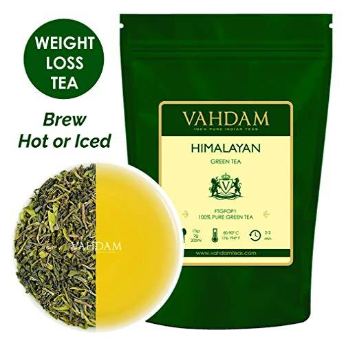 Hojas de té verde de los Himalayas (50 tazas), té de desintoxicación 100% natural, poderosos antioxidantes, cosecha fresca de, hojas sueltas de té verde, 100gm
