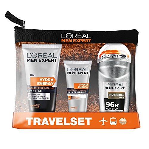 L'Oréal Men Expert Reiseset Energy Box, Pflegeset, Reinigungsgel, Feuchtigkeitscreme, Deo Roll-On + Kulturbeutel, 1er Pack (1 x 4 Stück)