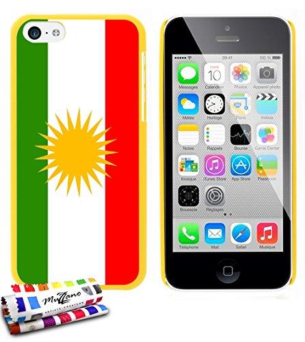 Ultraflache weiche Schutzhülle APPLE IPHONE 5C [Flagge Kurdistan] [Gelb] von MUZZANO + STIFT und MICROFASERTUCH MUZZANO® GRATIS - Das ULTIMATIVE, ELEGANTE UND LANGLEBIGE Schutz-Case für Ihr APPLE IPHO Gelb