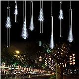 Fallende Lichter, EONHUAYU 30cm 10 Tubes 360LEDs Solarregen-Tropfen-Licht-fallende Lichter für die Baum-Parteien, die Garten-Haus-Dekoration Wedding Sind (Cold White)