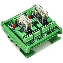 ELECTRONICS-SALON montaje en carril DIN fundido 2 DPDT 5 A Relé de potencia del módulo de interfaz, G2R -2 12 V DC relé