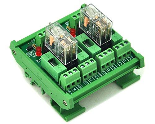 Electronics-Salon Montage sur rail DIN Fused 2 Puissance DPDT 5A Relais Interface Module, G2R-2 5V Relais DC