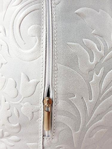 Luxus Hellgrau Handtasche Designer Henkeltasche Weiß 1 Designs 2 Rucksack in versch Prägung in aus Echtleder 4wOIn1Xq