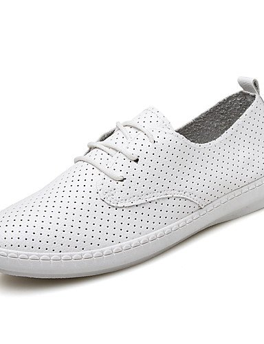 ZQ Scarpe Donna-Stringate-Casual-Comoda-Piatto-Finta pelle-Nero / Bianco , white-us8.5 / eu39 / uk6.5 / cn40 , white-us8.5 / eu39 / uk6.5 / cn40 white-us6 / eu36 / uk4 / cn36