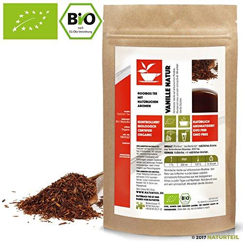 NATÜRLICH TEE - BIO ROOIBOS TEE VANILLE NATUR / Natürlich Aromatiserter Koffeinfreier Biotee, Rotbusch, Reubusch, Caffeine Free South African Flavored Tea Organic - 250G