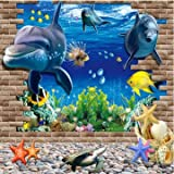 Generic 3D Blue Sea World Dolphin Removable Wall Sticker Wallpaper Home Decor