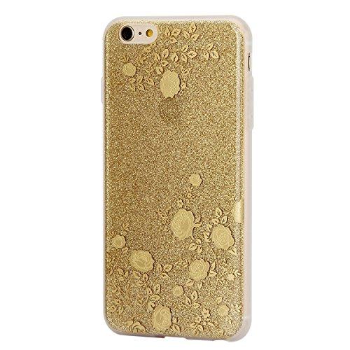 iPhone 6 6S Coque Housse Etui, iPhone 6 Rose Coque en Silcone Clair Ultra-Mince Etui Housse avec Glitter Diamant, iPhone 6S Silicone Coque Pink Slim Transparent Soft TPU Bumper Case with Bling Diamond or-Rose