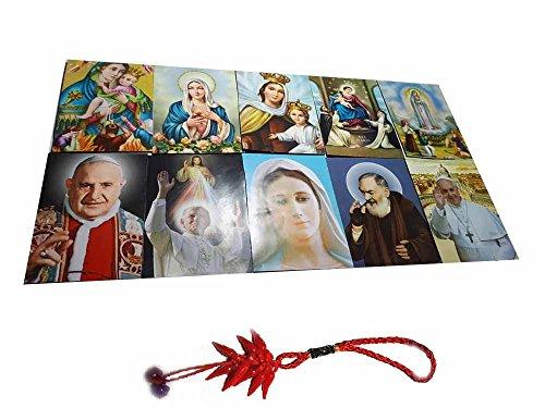ricevi 10imanes pintados Santini 5x 7cm imán Color Padre Pio Papa Francesco Giovanni Wojtyla Virgen con Niño Jesús 'Fátima Medjugorje Piange y otros de fotos y un llavero incluye amuleto Corni