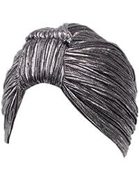 Mützen Transer® Damen Krebs Chemo Hygiene Alopezie Indisch Make-up Hut Schwarz Gold Silber Falten Stretch Schal Turban Mützen