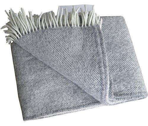 Lange creme-graue Fischgrat Wolldecke aus 100% neuseeländischer Schurwolle Ökotex 100, ca 220x130cm mit Fransen (Braune Wolldecke, Die)