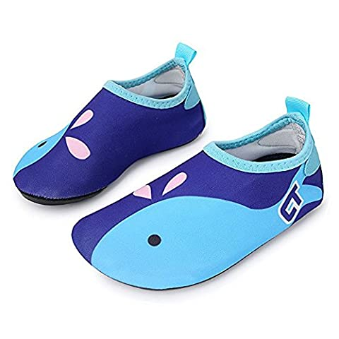 SITAILE Kids Flexible Swimming Shoes Beach Breathable Aqua Socks Water Skin Wet Shoes for Boys Girls, Dolphin Blue