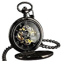 ESS Steampunk Vinatge Mechanical Pocket Watch Gift Mens Retro Black Brass Chain Roman Numerals WP118-E