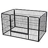 FEANDREA Recinzione Recinto per Cani Conigli Animali di Ferro Nero 122 x 80 x 70 cm PPK74H