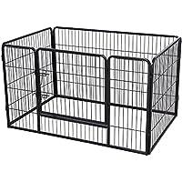SONGMICS Welpenauslauf für Hunde Kaninchen kleine Haustiere 122 x 70 x 80 cm schwarz PPK74H