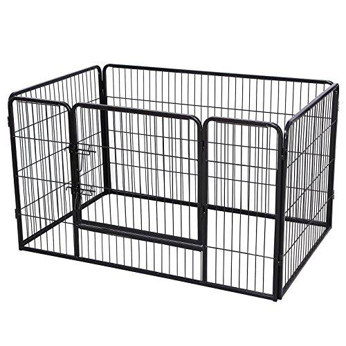*SONGMICS Welpenauslauf für Hunde Kaninchen kleine Haustiere 122 x 70 x 80 cm schwarz PPK74H*