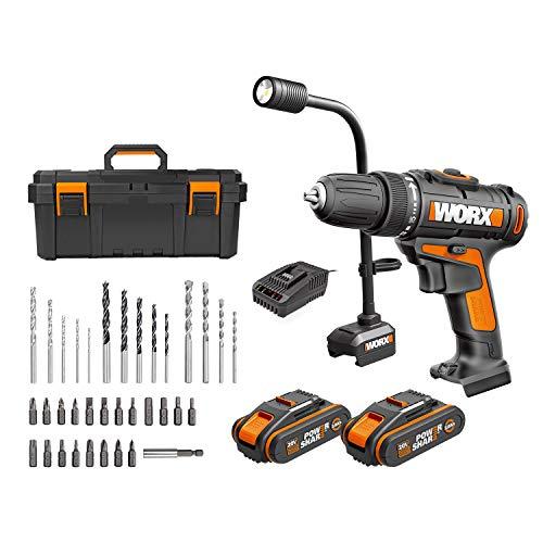 WORX 20V WX977.1 Akku Bohrschrauber & Schlangenlicht mit Werkzeugkasten, Powershare, 2x 2,0Ah, 35 Bohr- und Schraubenzieher, 1 Std. Schnellladegerät
