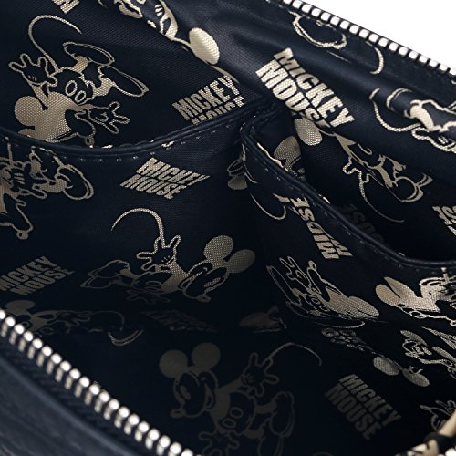 ililily Disney Mickey Mouse Embroidery Cross Body Mini Vintage Shoulder Bag Black