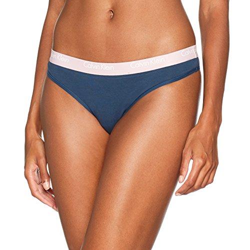 Calvin Klein Damen Thong String, Blau (Intuition 5Nt), 6 (Herstellergröße: X-Small)