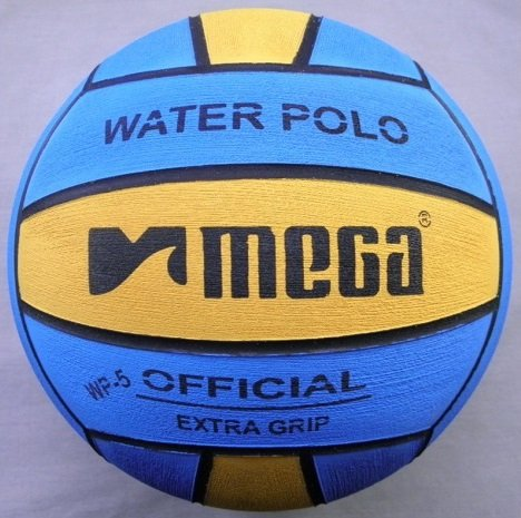 Pallone da pallanuoto, mega, design blu-giallo, misura: 5