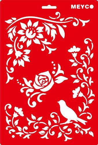 Schablone 20x31cm - Blüten & Vogel