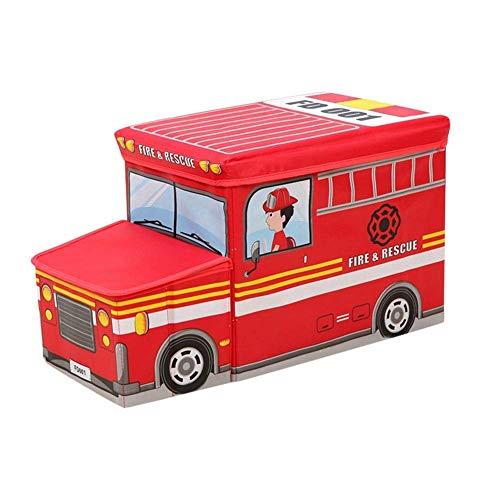 Crystal Drill Kinder multifunktionale Speicherhocker/Spielzeug Aufbewahrungsbox, faltende Aufbewahrungsbox - Schulbus Feuerwehrauto Polizeiwagen,Firetruck,Car