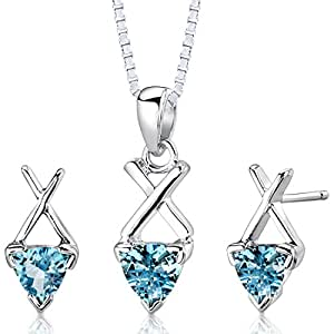 Revoni Sterling Silver 1.75 carats total weight Trillion Cut Swiss Blue Topaz Pendant Earrings and 46 CM Length Silver Necklace Set