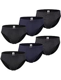 Men´s Fashion Lounge Herren Slip, 6er oder 12er Pack aus 100% Baumwolle mit edlem Nadelstreifen, Größen 5-8