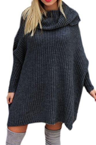Mikos* Modischer Kuschelig Pulli mit ROLLKRAGEN Lässig Pullover Sweater Longshirt Tunika Strickpullover Oversize S M L (624) (Graphite)