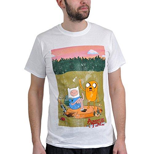benteuerzeit mit Finn und Jake T-Shirt: Finn and Jake (Weiß) Bioworld Größe S - XL (X-Large) (Jake Adventure Time Kostüm)