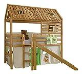 Relita BS1311118-B90+ZB1371418+TX5002074+TX5032074-M1 Spielbett Tom's Hütte mit Rutsche Liegefläche 90 x 200 cm Buche massiv geölt mit Textilset Dschungel, 210 x 240 x 210 cm