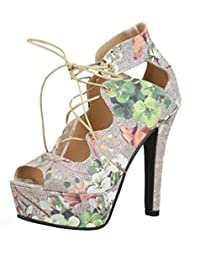 Easemax Damen Elegant Mehrfarbig Plateau High Heels Blumen Cut Out Schnürsenkel Sandalen Pink 34 EU HgEpd2O9