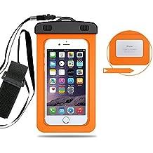 Angelakerry impermeable teléfono móvil Universal seco bolso de la bolsa para Apple Iphone 5/6/6sp/7/7P, Samsung, Huawei, naranja