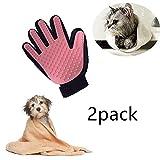 Locisne 2packs Pet Dog Cat bagno di pulizia della spazzola del guanto del silicone vero tocco di delicato efficiente governare di massaggio Groomer spargimento di rimozione dei capelli Pulire guanto, la mano destra (2 * mano destra, rosa) immagine