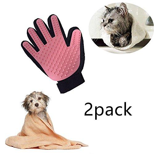 Locisne 2packs Pet Dog Cat bagno di pulizia della spazzola del guanto del silicone vero tocco di delicato efficiente governare di massaggio Groomer spargimento di rimozione dei capelli Pulire guanto, la mano destra (2 * mano destra, rosa)