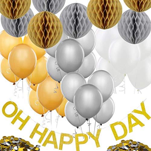 Party Deko Set - Mit Luftballons, Wabenbällen, Girlande - Elegante Dekoration Für Geburtstag Hochzeit Shower - Geburtstagsdeko - Gold Silber Weiß