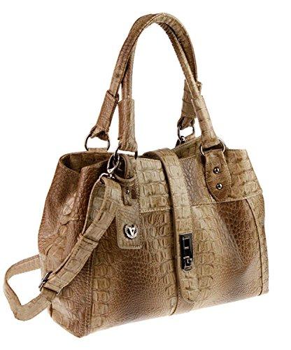 Valleverde Italy Damen Tasche hochwertige Lederimitat mit Krokoprägung mit Schultergurt und Tragegriffe (Tortora) -