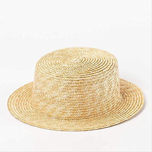 CLSWK Strohhut Mode Natürlichen Sommer Hut Kinder Baby Strohhut Junge Mädchen Breiter Krempe Strand Sun Cap Top Hut Skipper Cap Kopfgröße 48-52Cm (Mode Für Herren Breite Krempe)