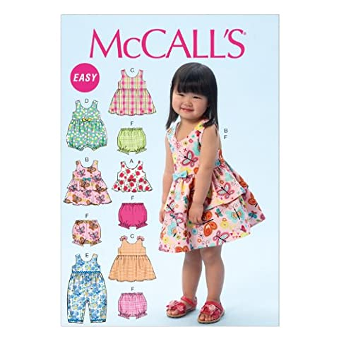 Mccall's Pattern MC6944 CAA Sizes 1/ 2 - 2 - 3 - 4 Toddlers Top Dresses Rompers and Panties