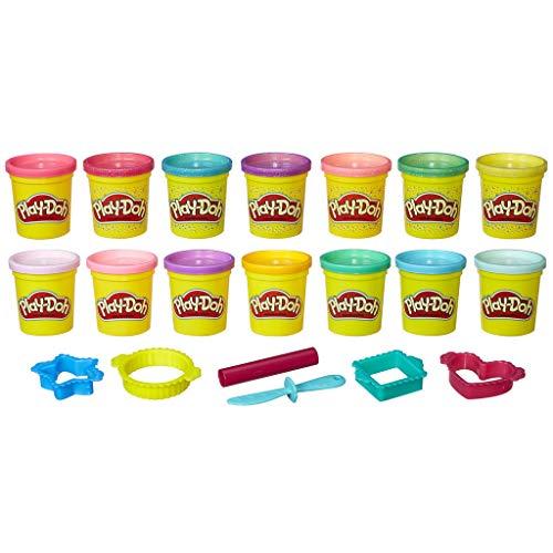 Play-Doh - Pots de Pate à Modeler à Paillettes - Pack de 14