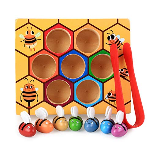 Bee Hive Preschool Wooden Toys, Bee Toy,Baby Toy Color Sorter Motor Skills Toys for Early Learning Colors and Sorting Counting,Ideal for Toddlers and Preschooler