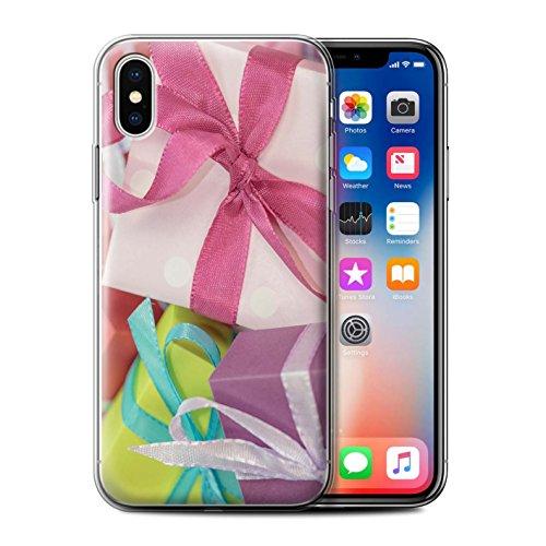 Stuff4 Gel TPU Hülle / Case für Apple iPhone X/10 / Baum Dekorationen Muster / Weihnachten Foto Kollektion Rosa Geschenk