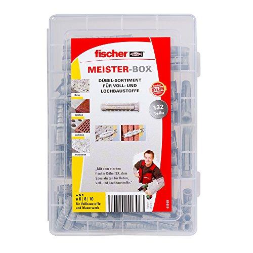 fischer MEISTER-BOX SX-Dübel, Dübelkiste mit 132 Spreizdübeln (60 Stk. 6 x 30, 60 Stk. 8 x 40, 12 Stk. 10 x 50), praktisches Dübelset für Heimwerker & Profis, ohne Schrauben