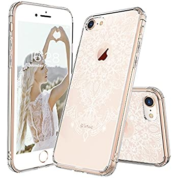 e14a1101c35741 MOSNOVO iPhone 8 Hülle, Henna Mandala Blumen Weiß Muster TPU Bumper mit  Hart Plastik Durchsichtig Schutzhülle Transparent für iPhone 8 (2017), iPhone  8 Case ...