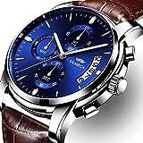 Olmeca pour Homme Montres de Luxe Montres Bracelet étanches Mode Montres à Quartz chronographe en Acier Inoxydable Montre pour Hommes (C-Bleus)