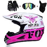 PKFG AO-332 Full Face Casques Motocross, Casque de Moto Tout-Terrain protection...