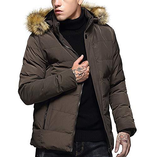 Amphia - Herren Winter Plus Samt Dicker einfarbiger BaumwollmantelHerren Wintermode Hoodie Pure Color verdickte Baumwolle gefütterte Jacke Mantel -