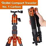 Rollei Compact Compact Traveler No I Carbon I Orange I Leichtes-Reisestativ I Foto-Stativ mit geringem Packmaß I Kugelkopf und Stativtasche -