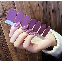 QCBC Single Color Series Classic Collection Manicura Esmalte de Uñas Tiras Nail Wraps, Negro, Blanco 14 Calcomanías / hojas (Paquete de 6 Hojas)